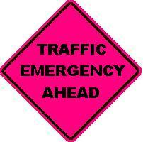 TRAFFIC EMERGENCY AHEAD